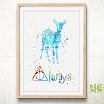 Doa Deer Always Quote, Harry Potter - Watercolor, Art Print, Home Wall decor, Watercolor Print, Harry Potter Poster