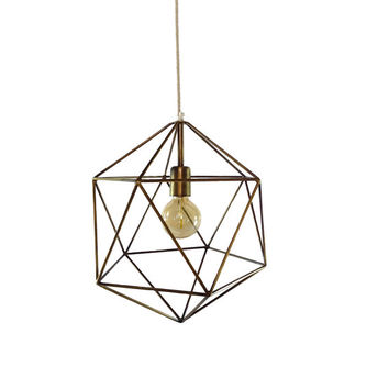 Bronze Geometric Pendant Light Handmade Hanging Light Cage Polyhedron Industrial Lighting Chandelier Ceiling Lamp Geometric Globe Chandelier
