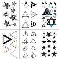 Wyuen 2017 New Hot Waterproof Temporary Tattoo Stickers for Adults Kids Body Art Geometric Shapes G-031 Fake Tatoo for Man Woman