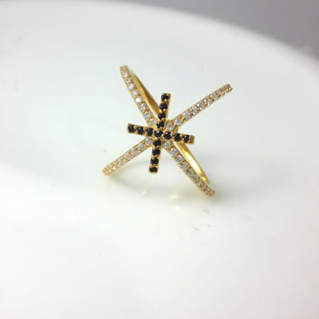 X Ring with Cross ~ Criss Cross Ring ~ Gold X Ring ~ Silver Thin CZ ring ~ Cross Cross Ring ~ Connected Ring ~ Knuckle Ring ~ Christmas Gift