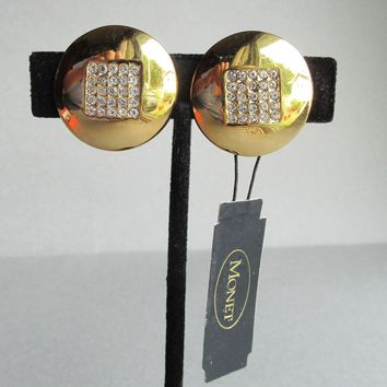 Vintage 1980's Old Store Stock Signed MONET Rhinestone Button Gold Tone Clip Earrings