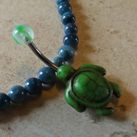 Green Turtle Belly Ring Navel Ring Belly Ring Body Jewelry