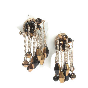 Hobe Dangle Cascade Earrings Two Tone Black Gold Beads Vintage