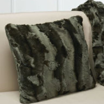 Plush Luxe Olive Faux Fur Throw Pillow 16.5'' x 16.5''