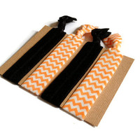 Elastic Hair Ties Black Orange and White Chevron Yoga Hair Bands Halloween