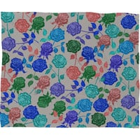 Bianca Green Roses Blue Fleece Throw Blanket