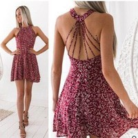 2018 sexy neck features backless printed dress