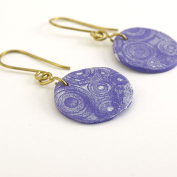 Small purple dangle earrings, White patina stamped earrings, OOAK