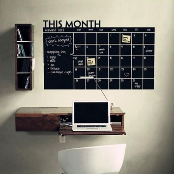 Diy Monthly chalkboard calendar Vinyl Wall Decal Removable Planner mural wallpaper vinyl Wall Stickers 64*100CM  206