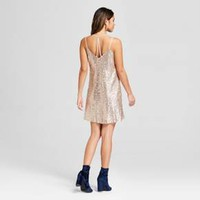 Women's Strappy Y Back Sequin Mesh Dress - Xhilaration™ Gold