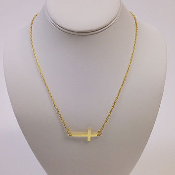 Bright yellow gold cross necklace / Gold cross necklace / Religious necklace / Christian necklace / Gold charm necklace / Gold necklace