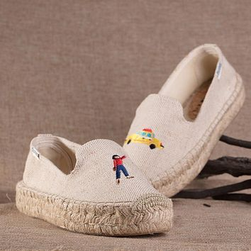 Soludos Thick Bottomed 2018 Taxi Girl Hits The Electric Embroidery Slipper