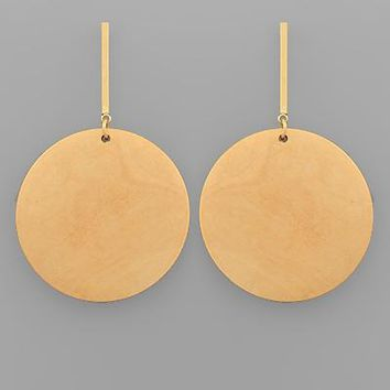 Wood Circle & Bar Earring