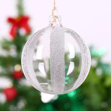 Christmas Ornament Supplier Clear Glass ball with silver stripe for wedding centerpieces festival holiday party Globe Decor 8cm