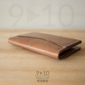 Thin Leather Wallet, Small Bifold Light Brown Dyed Leather Card Holder , Handmade Wallet, Hand stitched leather wallet, Genuine Leather