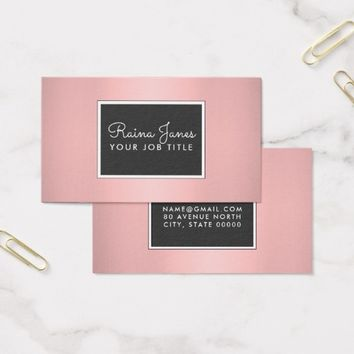 Professional Modern Light Rose Gold Metallic Business Card