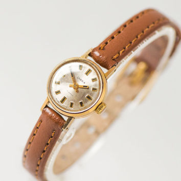 Minimalist Women Watch Gold Plated, Tiny Lady Wristwatch, Small Women Watch Gift Her, Delicate Lady Watch Mechanical, Gift Leather Strap New