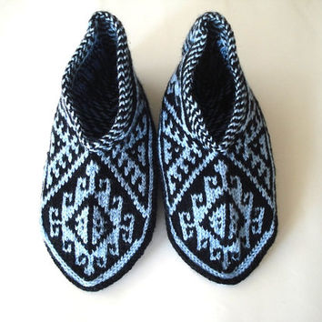 womens slippers, knitted slippers, blue black Turkish Socks, girls Slippers, knitted home shoes, womens slippers, house shoes