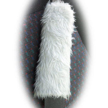 fuzzy faux fur Silver Grey car Seatbelt pads 1 pair furry and fluffy