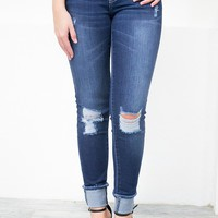 Los Angeles Distressed Cuffed Denim