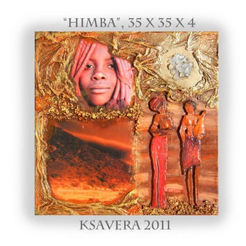 "Collage African art Original Mixed Media canvas KSAVERA ""Himba"" 14x14x1,6 Art Nouveau Abstract Africa crystals Orange Contemporary Painting"
