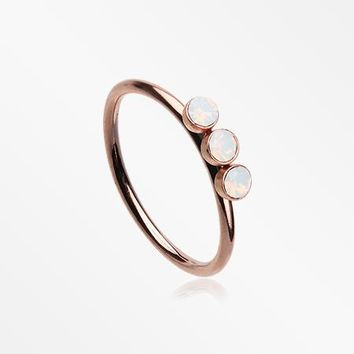 Rose Gold Triple Opalite Sparkle Bendable Twist Hoop Ring