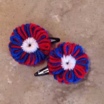 Knitted Red White and Blue Patriotic Flower Hair Clips Hair Accessories
