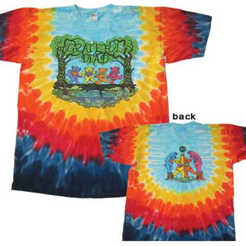Grateful Dead Dancing Bears in the Woods short Sleeve Tie Dye Shirt  Sizes Med L  XL