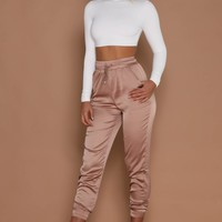 Agatha Satin Joggers - Rose Gold