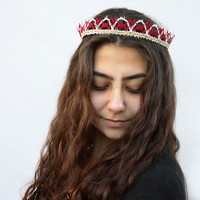 Vintage Lace Valentine Crown - Red and White, Valentine Fashion, Crown, Tiara, Hair Accessory, Lace Headband, Princess Crown, Birthday Crown
