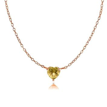 Dainty Citrine Small Heart Choker Necklace in Rose Gold Plated Sterling Silver