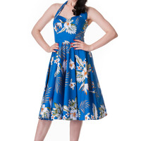 Hell Bunny Aloha Tropical Hawaiian Flower Print Alika Halter Dress