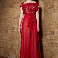 Scarlet Red Modest Lace Chiffon Long Formal Evening Pageant Dress | CX830828