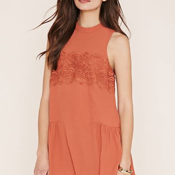 Contemporary Lace-Panel Dress | LOVE21 - 2000169900