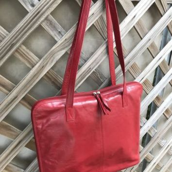 LATICO NJ USA RED Leather Shopper Tote Computer Bag