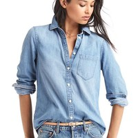 1969 denim fitted boyfriend shirt | Gap