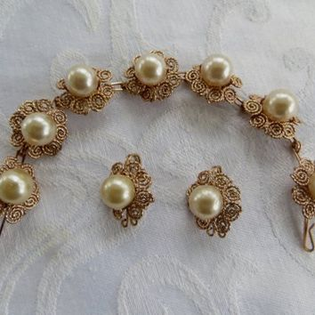 Vintage Pearl Bracelet Set Pierced Earrings Cannetille Wire Work Wedding Bridal Jewelry