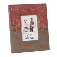 Wilco Imports Distressed Taupe and Soft Red Photo Frame, 6-1/2-Inch by 0-1/2-Inch by 8-1/4-Inch
