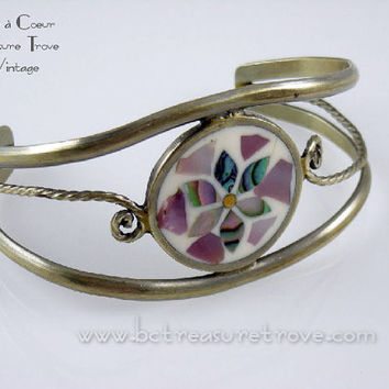Cuff Bracelet Flower Inlaid with Shell Alpaca Silver Mexico Vintage 1970s