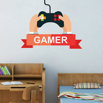 kcik1497 Full Color Wall decal controller console Xbox 360 Game PS4 player bedroom teens