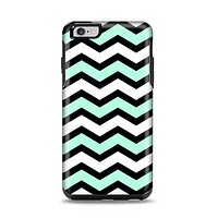 The Teal & Black Wide Chevron Pattern Apple iPhone 6 Plus Otterbox Symmetry Case Skin Set