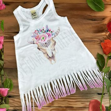 Cow Skull Fringe Baby Dress