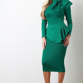 Long Sleeve Bow Embellished Peplum Midi Dress