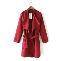 Cuff-Sleeve Lapel Tie-Waisted Trench Coat