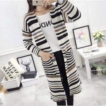 New Winter Cardigans Women Fashion Long Sweater Casual Long Sleeve O-neck Stripped Knitting Woman Sweaters 71697 GS