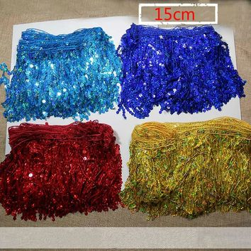 15CM  Laser sequined Fringe trimming lace  For DIY Sewing Latin Dance Dress,sequin Fringe trims 6 meters /lot