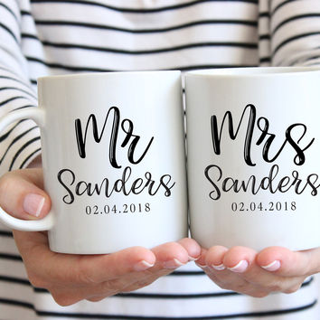 Mr Mrs Engagement Mugs, Coffee Mug Set, Ceramic Mug, 11 oz or 15 oz mug, Engagement Gift, Personalized Mug Set, Bride Groom Mugs, Wedding