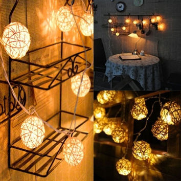 New Popular 20pcs LED Rattan String Ball Lantern Lights Wedding Party Decoration [7655603654]