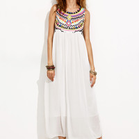 White Tribal Print Chiffon Dress -SheIn(Sheinside)