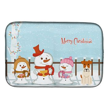 Merry Christmas Carolers Wire Fox Terrier Dish Drying Mat BB2432DDM